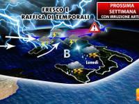Prossima settima irruzione Artica: di nuovo fresco e raffica di temporali sull'Italia