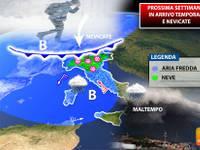 Meteo: PROSSIMA SETTIMANA il RUGGITO del DURO VERO INVERNO, pioggia e TANTA NEVE in PIANURA. Ecco DOVE