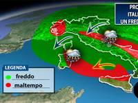METEO PROSSIME ORE: Italia ferita da un FREDDO MALTEMPO. Arrivano pioggia e NEVE. Ecco dove