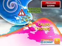 Meteo: PROSSIMI GIORNI, ITALIA CONTESA tra TEMPORALI, GRANDINE e CALDO ESTIVO. Le PREVISIONI fino a Venerdì