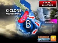 Meteo: entro Mercoledì-Giovedì il CICLONE Mediterraneo si rinforza e diventa MEDICANE. C'è rischio Alluvioni