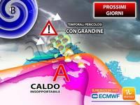 Meteo: Mercoledì ESTREMO, tra TEMPORALI PERICOLOSI e CALDO INSOPPORTABILE. PREVISIONI  e TENDENZA fino a Venerdì
