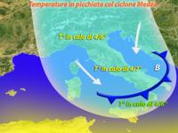 Meteo - CICLONE MEDEA al Centro-Sud, BRUSCO calo delle TEMPERATURE. Ecco dove farà più FREDDO