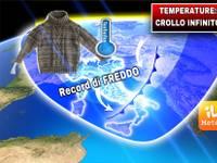 Meteo:  TEMPERATURE in CROLLO INFINITO, è RECORD di FREDDO. Ecco QUANDO può arrivare una VERA SVOLTA