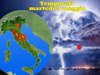 METEO / temporali con grandine oggi su Veneto, Emilia, Toscana e Umbria