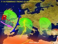 METEO | 7-14 Febbraio, Treno di Perturbazioni sull'Italia. Neve, vento, piogge e temporali