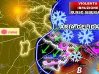 Meteo: da Venerdì 22 KO all'anticiclone, VIOLENTA irruzione di GELO dalla SIBERIA con VENTO e NEVE, ecco dove