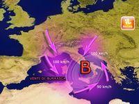 Meteo Italia: CICLONE da stasera  con VENTI tempestosi fino a 100 km/h da Giovedì 26 al Centro-Sud