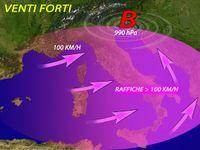 Meteo ITALIA - venti di TEMPESTA a partire da DOMANI, MASSIMA attenzione. Raffiche oltre 100 km/h