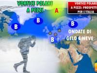 Meteo: VORTICE POLARE a PEZZI, l'EUROPA nella morsa di GHIACCIO e NEVE. Prospettive per l'ITALIA