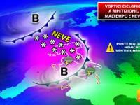 Meteo: MALTEMPO a RIPETIZIONE, sarà una SETTIMANA con piogge, temporali e NEVE SENZA SOSTA [DETTAGLIO]