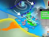 Meteo: WEEKEND TURBOLENTO, Doppio ATTACCO ricolmo di PIOGGIA e NEVE in Montagna. La TENDENZA per SABATO e DOMENICA