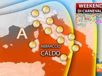 Meteo: WEEKEND di CARNEVALE, ABBRACCIO CALDO dell'Anticiclone. Il Tempo di Sabato, Domenica fino a Martedì GRASSO