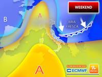 Meteo: WEEKEND, REFOLI d'ARIA FRESCA e TERMOMETRI al RIBASSO tra SABATO e DOMENICA. La PREVISIONE nel Dettaglio