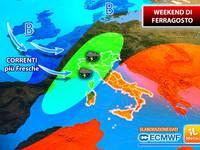 Meteo ITALIA: WEEKEND di FERRAGOSTO, NON solo CALDO AFOSO, anche INCURSIONI TEMPORALESCHE. Gli AGGIORNAMENTI
