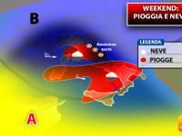 Meteo: WEEKEND, tra Sabato 19 e Domenica 20 nuovo VORTICE CICLONICO, pioggia e NEVE. Ecco DOVE