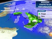 Meteo: WEEKEND, Italia in CONVALESCENZA. Sabato e Domenica staffetta di PERTURBAZIONI, con NEVE