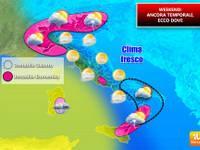 Meteo WEEKEND: Italia al FRESCO e ancora con TEMPORALI e GRANDINE, ecco dove [MAPPE]