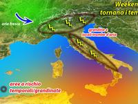 METEO / allerta meteo WEEKEND, violenti Temporali in arrivo al Nord e Appennini [VIDEO]