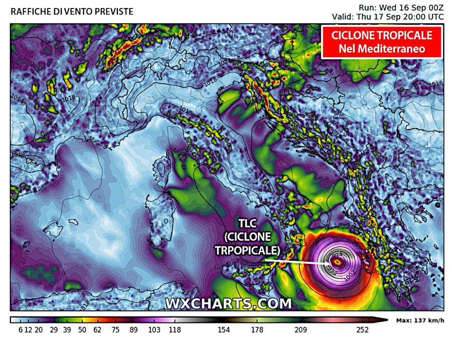 Raffiche massime di vento entro venerdì: punte ad oltre 100 km/h