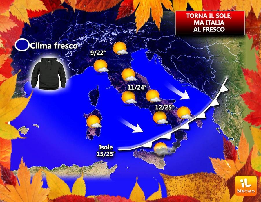 Clima autunnale sull'Italia, ma bel tempo
