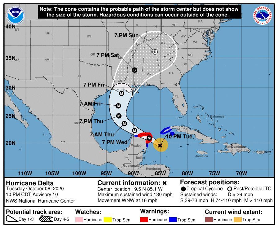Traiettoria di 'Delta' prevista dalla NOAA