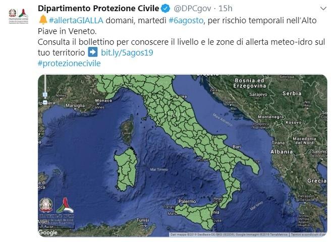 Allerta Gialla della Protezione Civile per una regione d'Italia