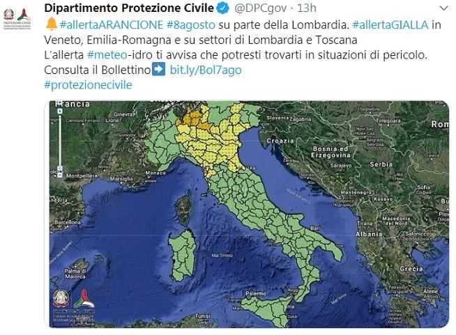 Allerta Arancione e Gialla per alcune regioni d'Italia