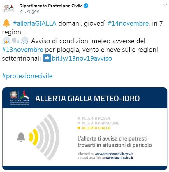 Allerta Gialla della Protezione Civile per 7 regioni d'Italia