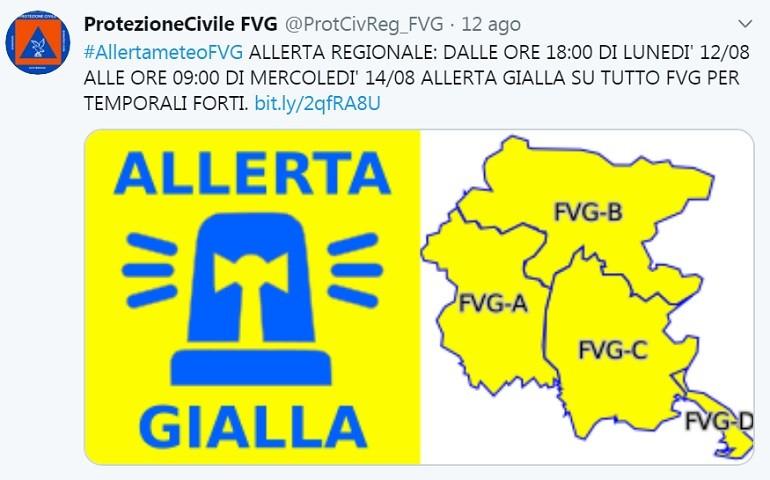 Allerta Gialla della Protezione Civile per la Regione Lombardia