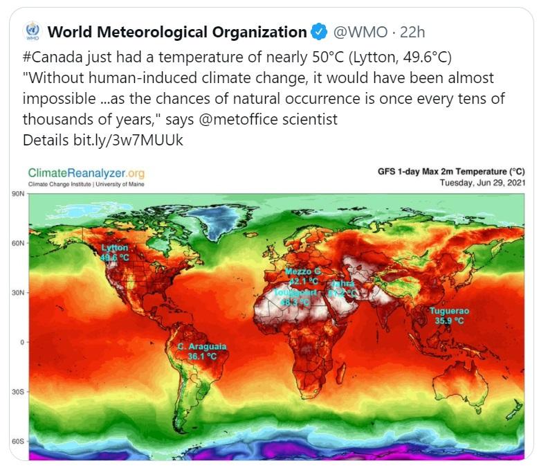 Tweet ufficiale dell'OMM a cui fa riferimento l'attivista Greta Thunberg