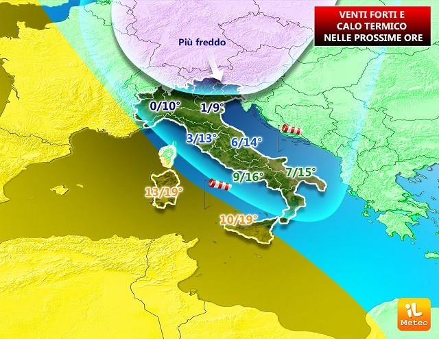 In arrivo venti forti sull'Italia; calo termico