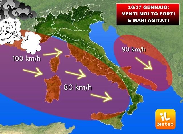 Venti forti irrompono sull'Italia