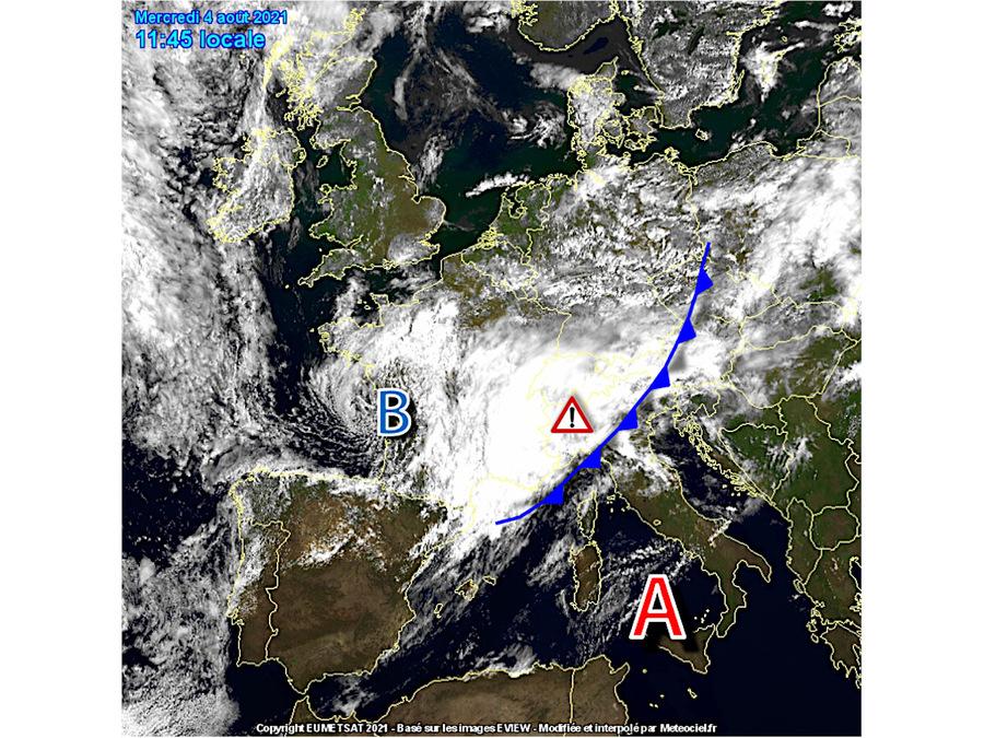 Vortice ciclonico in avvicinamento alle nostre regioni settentrionali