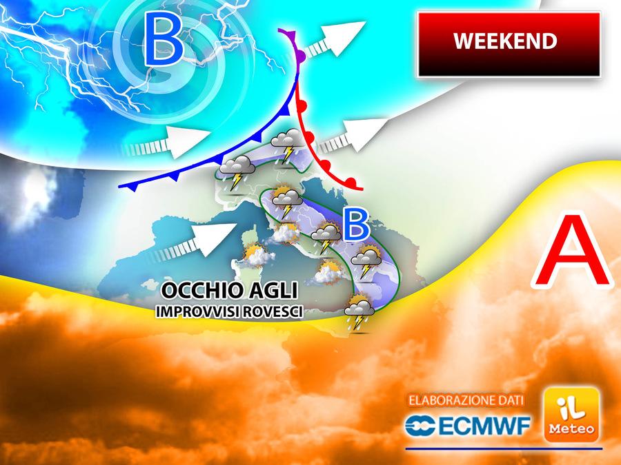 Weekend ancora esitante con il rischio di temporali tra sabato 15 e domenica 16 maggio