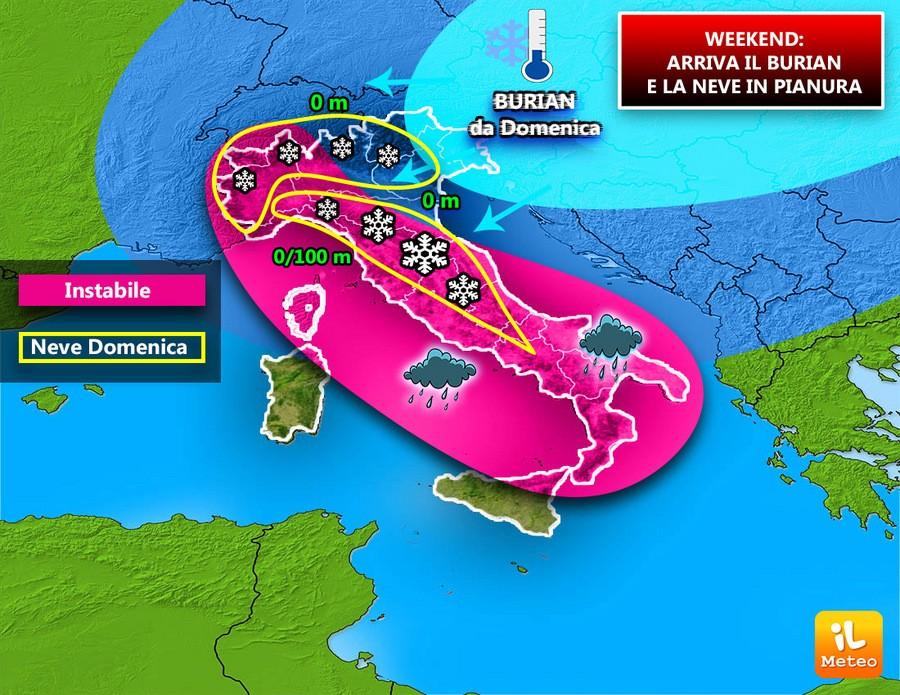 Con il Burian nevicherà diffusamente in pianura e coste adriatiche