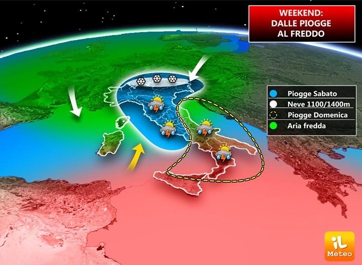 Piogge previste per il weekend 25-26 Novembre