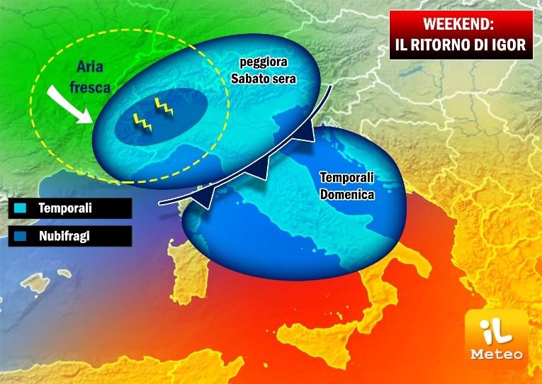 Maltempo: temporali in arrivo al centro-sud