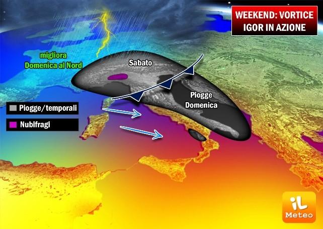Previsioni meteo: nel weekend il grande ritorno del vortice Igor