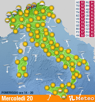 het weer in Italië door ilmeteo.it